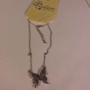 NWT Creations rhinestones butterfly necklace